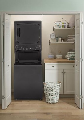 Stacked Washer and Dryer in setting