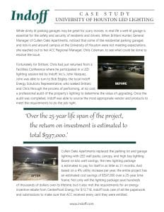 Dim lighting in a parking garage can be a breeding ground of crime and violence. When the University of Houston realized how dark their lots and garages were they reached out to Indoff to increase their security while helping them save money.