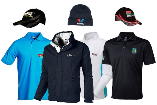A small sample of the promotional clothing that Indoff offers