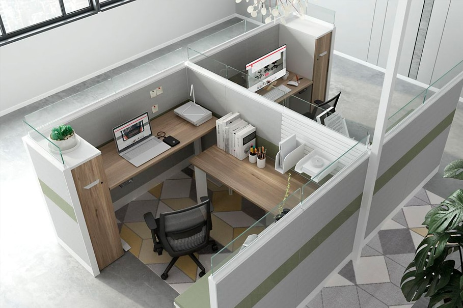 Looking down into a modern cubicle system