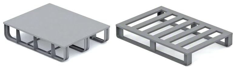 An image showing two different types of Metal Pallet decking styles