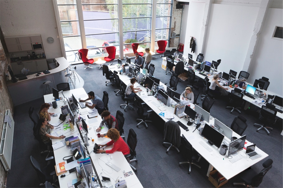 An office that operates with an open floor plan