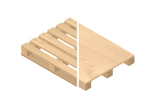 An image showing the difference between a pallet and a skid