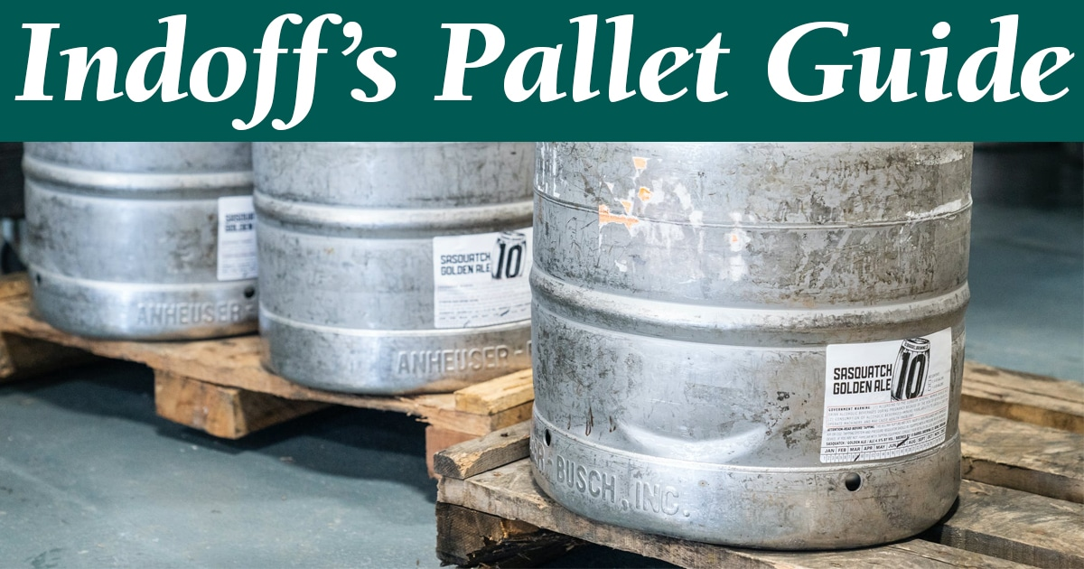 Used pallets supporting kegs