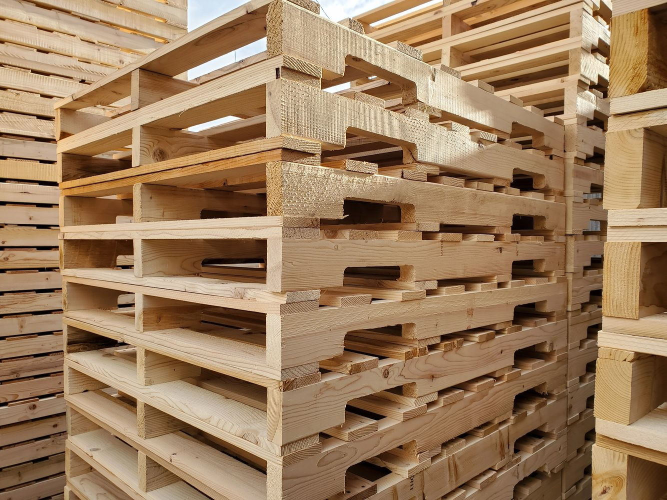 Stacked hardwood pallets